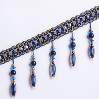 12 yards/lot Window Curtains Crystal Bead Lace Decoration Parts Suspended Bead Spike Tassels Fabric Art Decoration Rose Jade