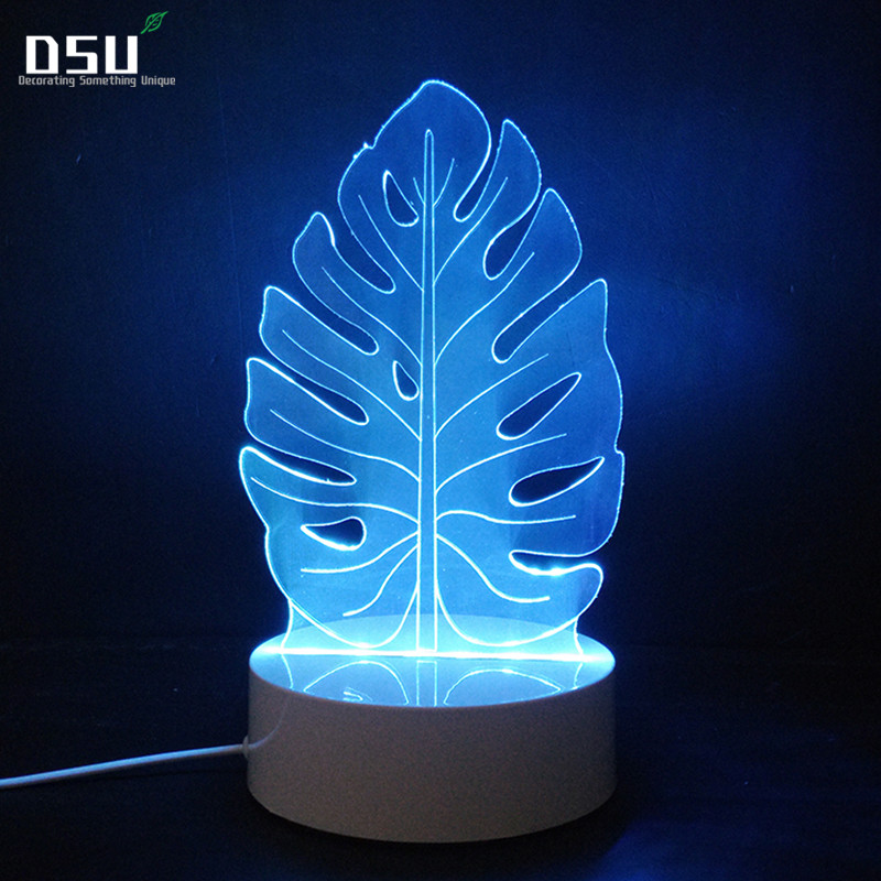 Creative 3D Night Light Electric Leaves Model Illusion LED Lamp 7 Color Changing USB Touch Sensor Desk Table, Party, Home Decor