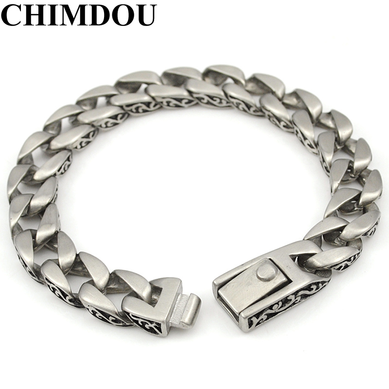 CHIMDOU Fashion Stainless Steel Bracelet Men Chain Flowers Pattern Jewelry Biker High Quality AB541 high quality flowers and shopping girl pattern removeable wall stickers