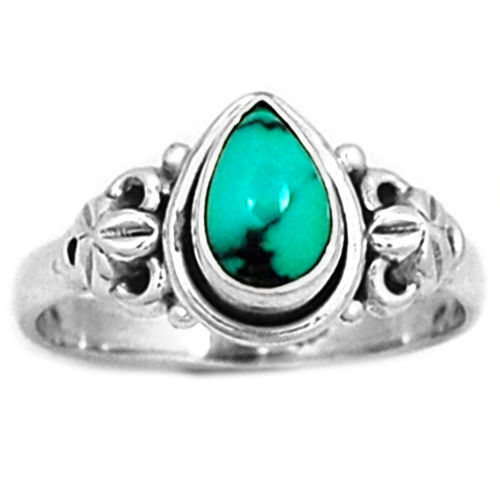 Genuine Turquoise Ring 100% 925 Sterling Silver, Size:9.25, KR0161