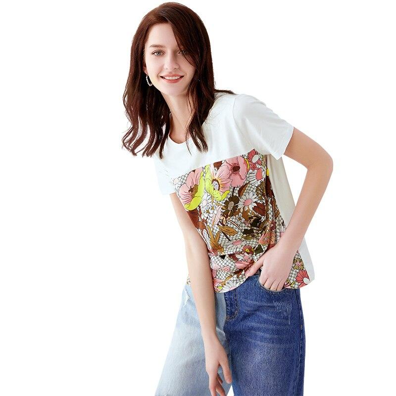 POKWAI/женская летняя Новинка 2019 года; Модная Повседневная футболка с короткими рукавами и круглым вырезом; женская тонкая рубашка - 2
