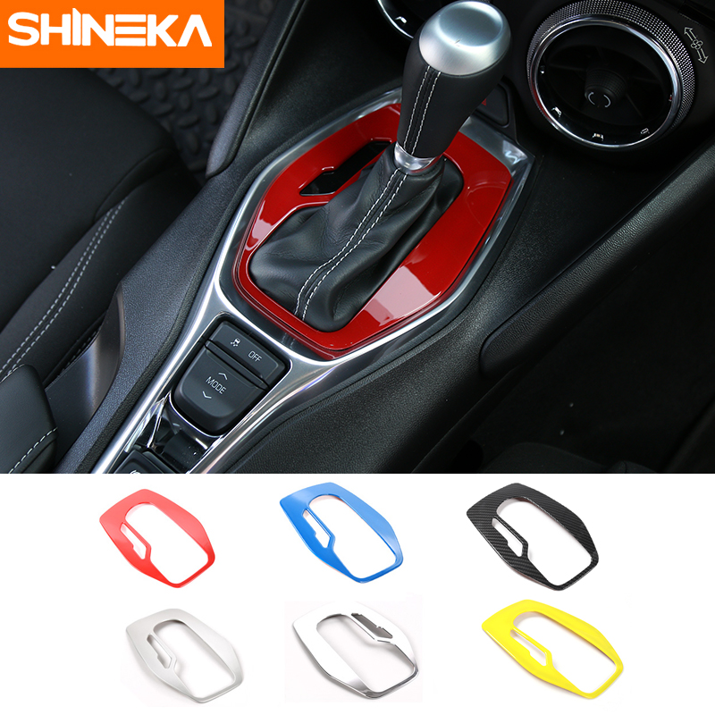 SHINEKA Car Styling ABS Interior Gear Panel Trim Shift Decorative Cover for Chevrolet Camaro 2017+ Car Accessories accessories for chevrolet camaro 2016 2017 abs carbon fiber style the co pilot central control strip molding cover kit trim page 7