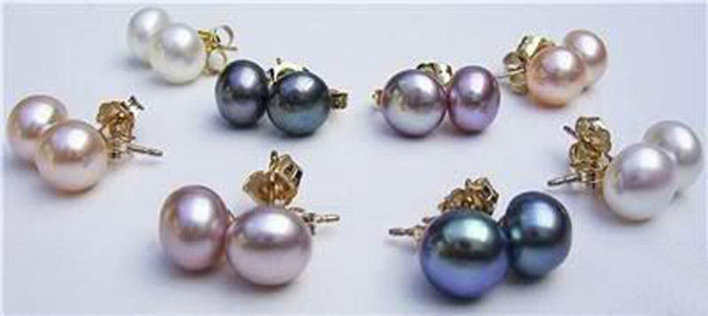 2014 new fashion free shipping charming 8Set 4Color 7 8MM Akoya Cultured Pearl Earring AAA BV93
