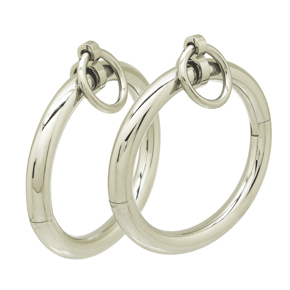 Polished shining stainless steel oval shapes lockable slave wrist ankle cuffs bangle bracelet with removable O ring