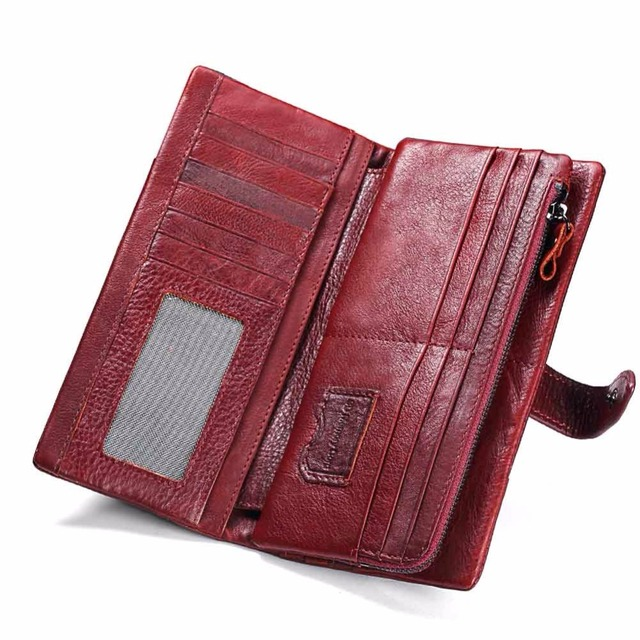 KAVIS Genuine Leather Long Clutch Wallet