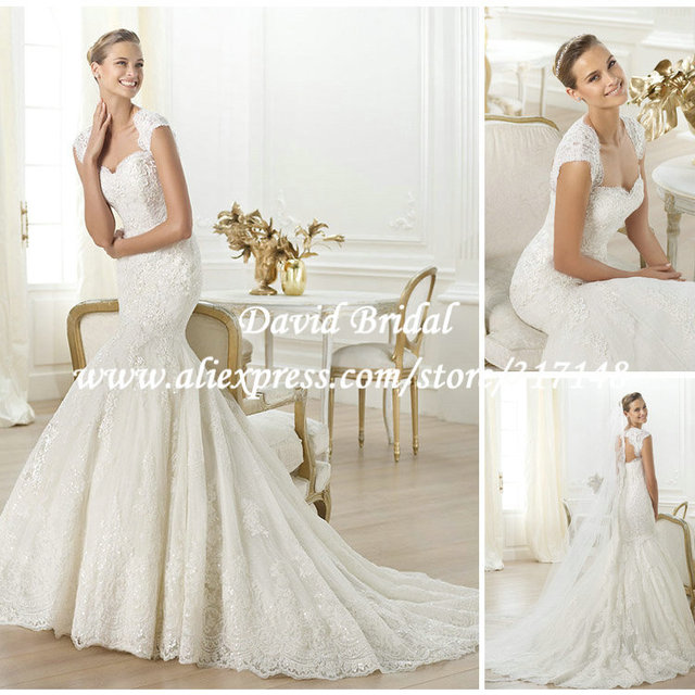 979ae94d19 Glamorous Ivory Mermaid 2014 Lace Wedding Dresses Keyhole Back with Cap  Sleeves EF1629-in Wedding Dresses from Weddings & Events on Aliexpress.com  | ...