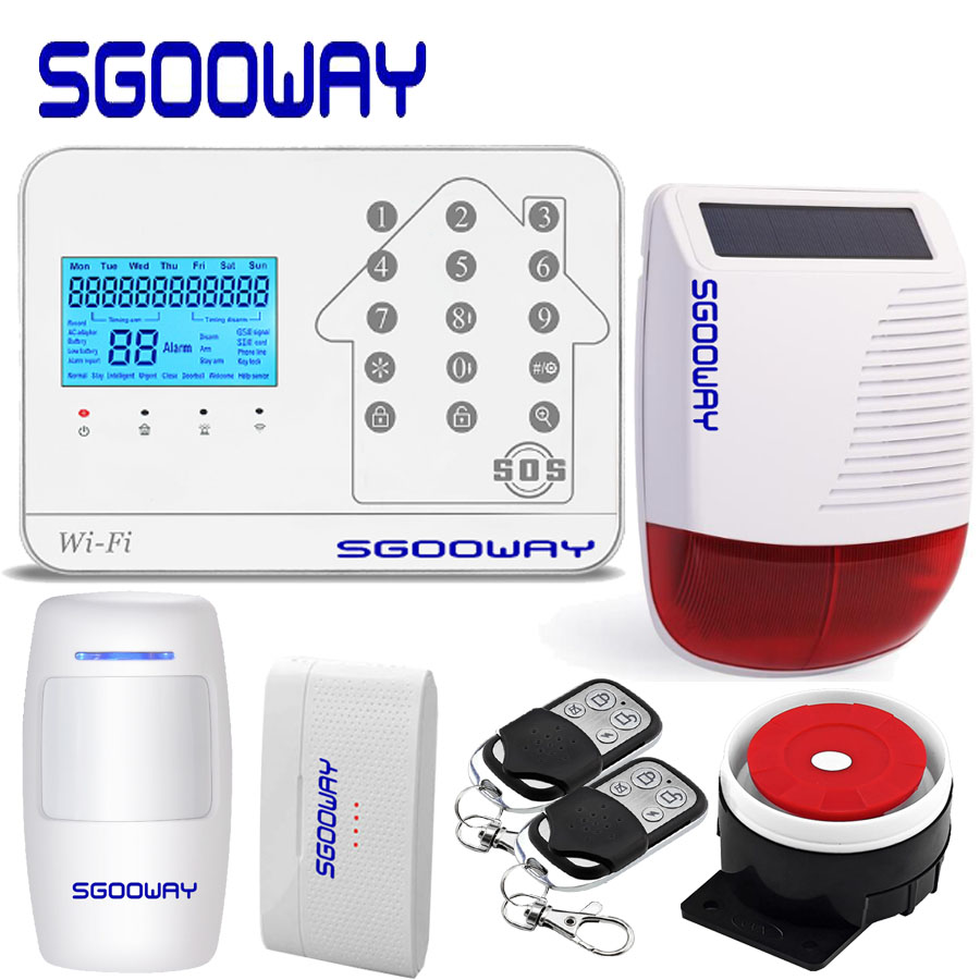 High quality WIFI GSM PSTN Wireless Home security Alarm system Support iOS Android APP with solar