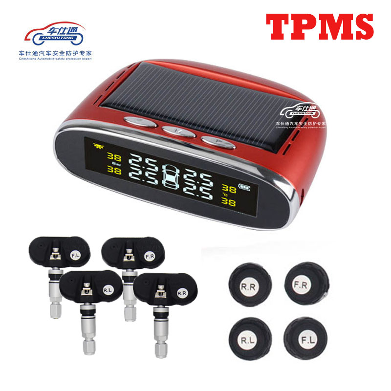 Car TPMS tire pressure monitor round wireless tire pressure monitoring alarm system LCD color display two installation methods tpms tire pressure monitor system car alarm system diagnostic tool wireless solar powered color lcd display
