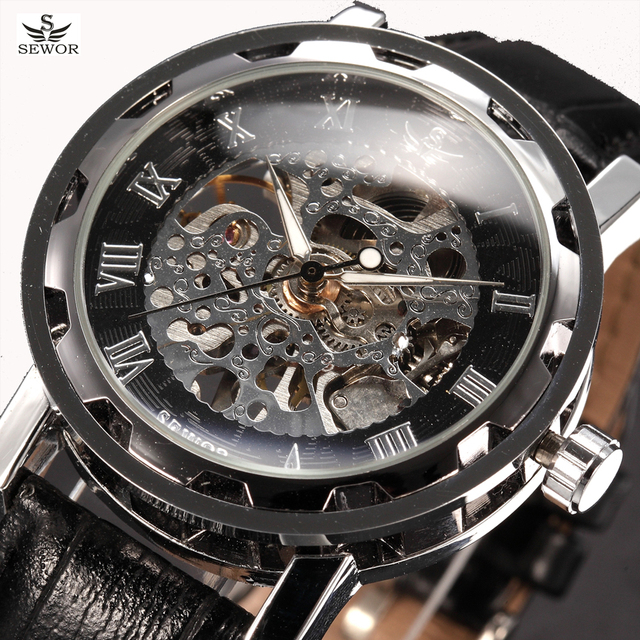 SEWOR Luxury Brand Skeleton Watches Mechanical Hand Wind Wristwatch Leather Strap Classic Relogio Masculino Men Fashion Watch