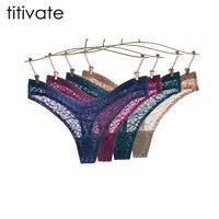Titivate 6 unids 2017 nueva llegada mujeres sexy jacquard bajo-cintura de la g-secuencia Ropa interior mujeres Tanga Bragas bragas brief