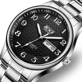 BOSCK Steel Week Calendar Luxury Men Watches Waterproof Luminous Number Classic Business Quartz Wrist Male Clock