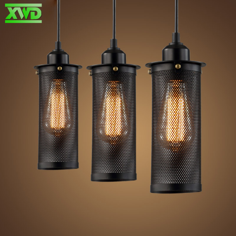 Vintage Iron Black Single Head Pendant Lamp Coffee House/Club/Foyer/Shop Indoor Lighting E27 Lamp Holder 110-240V Free Shipping loft style iron net retro pendant light fixtures edison industrial vintage lighting for indoor dining room rh hanging lamp