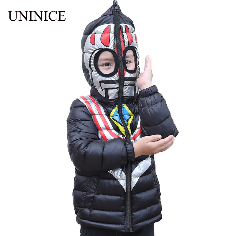 UNINICE Hooded Boys Girls Winter Coats Long Sleeve Boys Winter Jackets Cartoon Kids Girls Warm Thick Outerwear Children's Jacket