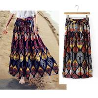 2016 New Summer Women Skirt Resort Style Printing Loose Cotton And Linen Long Skirt