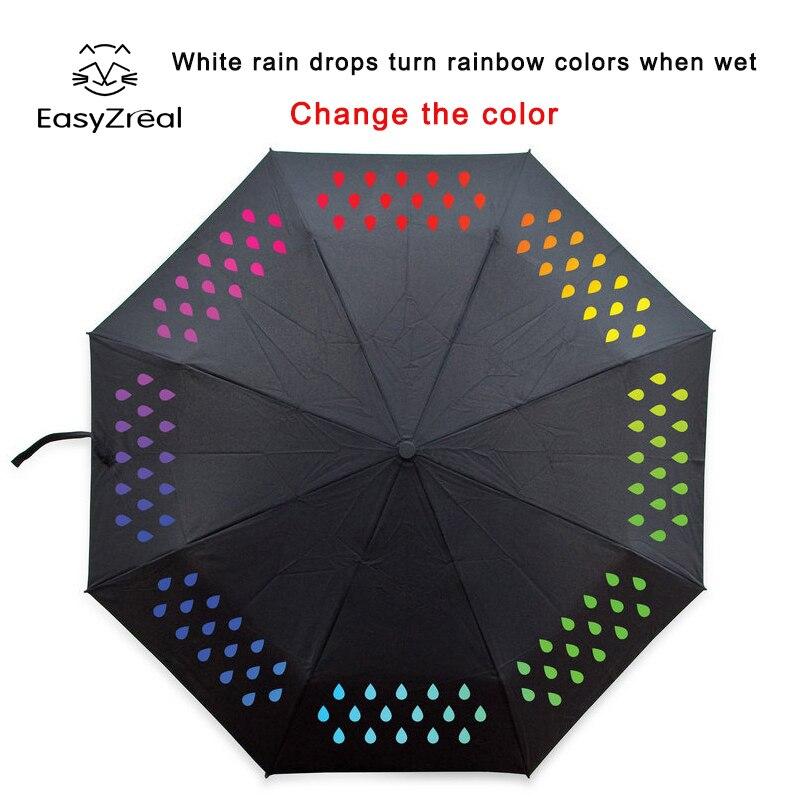2018 Creative 1pcs Colour Changing Umbrella gradient Rainbow Novelty pocket umbrella rain women parasol ladies reverse umbrellas