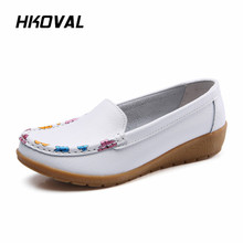 HKOVAL Women Shoes Sneaker Loafers Flats Casual Moccasins Genuine Leather Shoes Spring Autumn Female Ladies Footware shoes women 2017 new women genuine leather flats casual female moccasins spring summer lady loafers women driving shoes