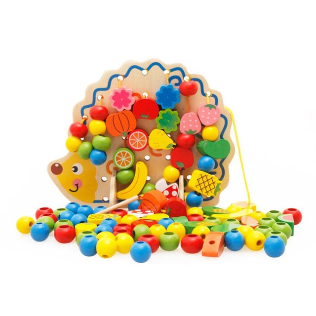 Hedgehog Shape Fruit Vegetable Beads Wooden Building Blocks Building Thread Toy Early Educational Puzzle Toys For Children Gifts
