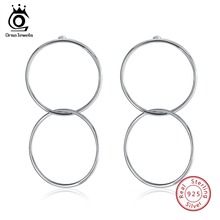ORSA JEWELS 100% 925 Sterling Silver Drop Earrings For Women Large Circle Double Round Earring Female Fashion Jewelry 2019 OSE78