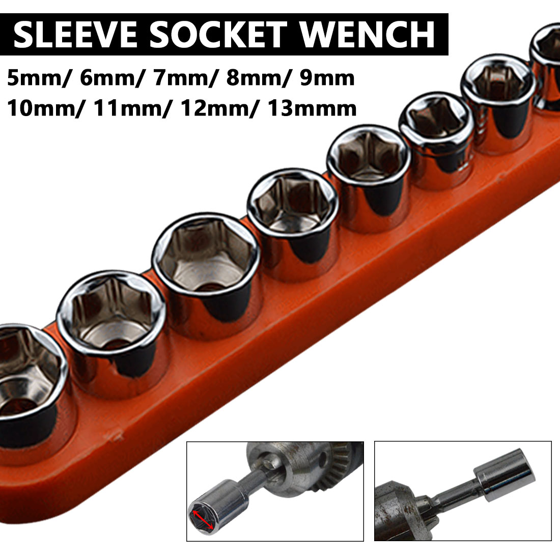9pcs /10pcs 1/4 Inch Drive Hex Bit Socket Wrench Set Sleeve Wrench Set Wrench Adapter 5/6/7/8/9/10/11/12/13mm Hand Tools