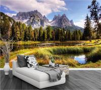 טפט 3d טפט תמונה מותאם אישית אחו הר שלג אגם סלון ציור קיר 3d טפט הטלוויזיה רקע ציור קיר 3d