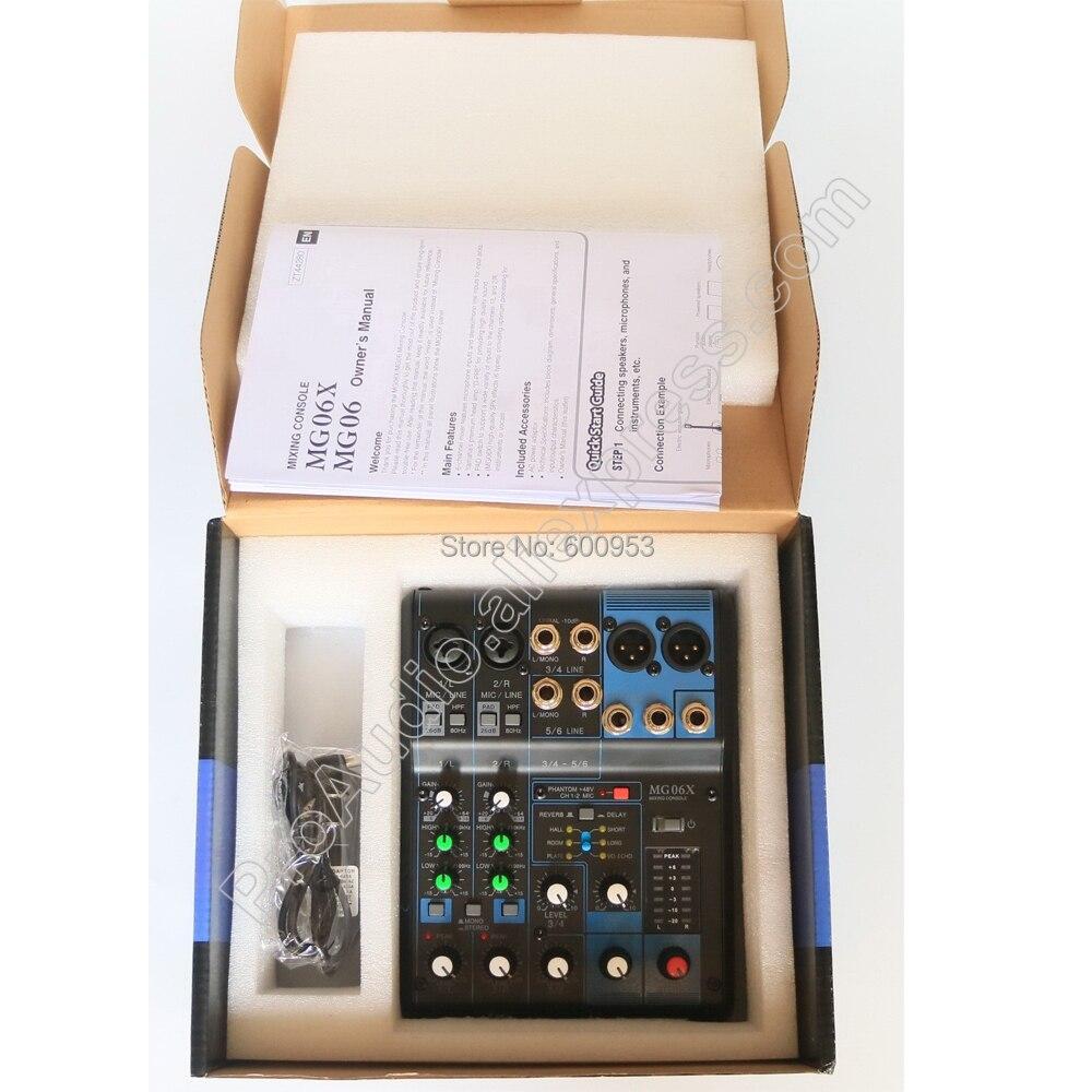48 V Phantom Power Mg06x Professionelle Audiogeräte Beruf 6 Kanal Audio Dj Mixer Sound Mischpult 6 Eingang Kompakte Stereo Mixer Mit Effekten