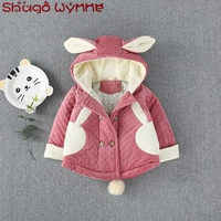 Winter Infant Girls Rabbit Ear Hooded Back Fur Ball Zipper Warm Jacket Kids Thicken Cotton Outerwear Baby Cute Coats casaco