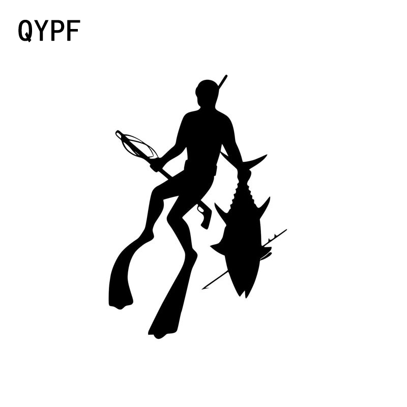 QYPF 11.9cm*17.8cm Personalized Diving Fishing Spear Fashion Vinyl Car Stickers Black Silver S2-0517