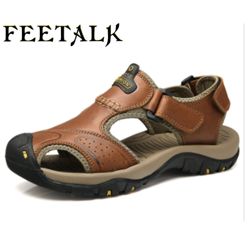 feetalk Mens Summer Sports Outdoor Trekking Hiking Sandals Shoes For Men Sport Climbing Mountain Shoes Man Sandals