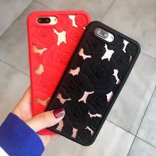 3D Rose Hollow Phone Case iPhone X 8 7 6 6S Plus Soft SF