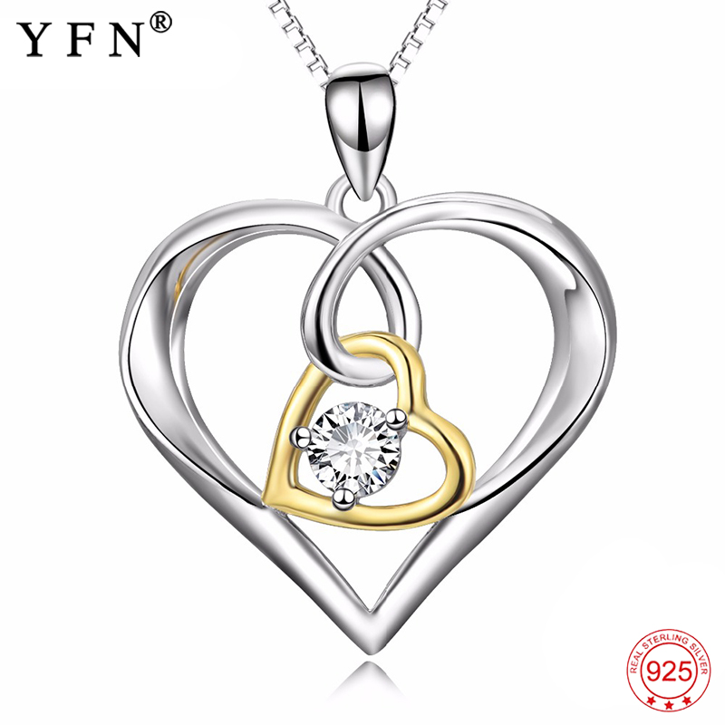 925 Sterling Silver Necklace Women Double Love Heart Luxury Pendants Necklaces Fashion Jewelry & Accesoories For Gifts PYX0381 fashion custom lettering 925 silver love heart shaped couple necklace peach heart pendants for men and women yp3196