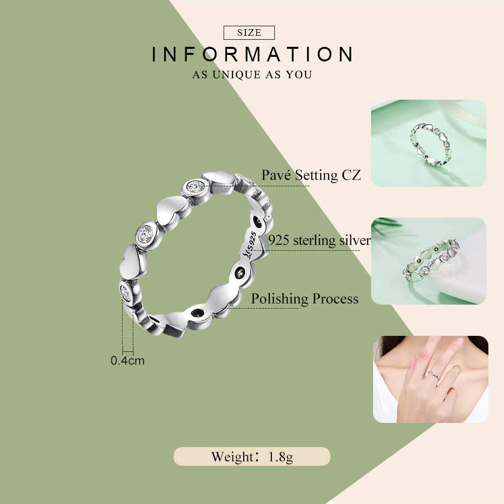 WOSTU, новинка, 925 пробы, серебро, мое сердце, яркие, штабелируемые кольца для женщин, мода S925, свадебные украшения, подарок CQR164