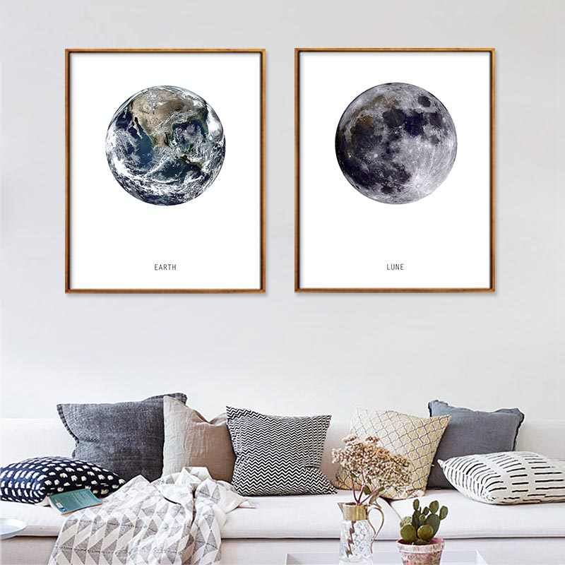 Wall Art HD Printed Canvas Painting Earth and LUNE Moon Cuadros Poster Wall Pictures For Home Room No Frame