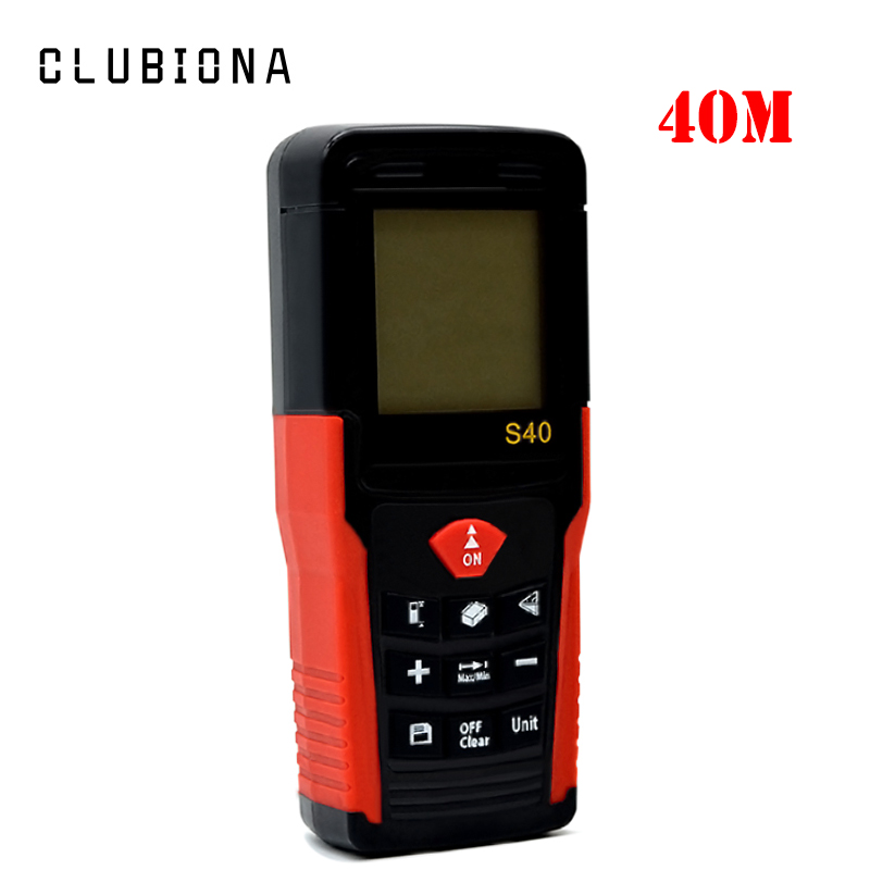 купить Shockproof multi-functional Area / Volume / Pythagorean proposition laser distance meter 40m laser rangefinder дешево