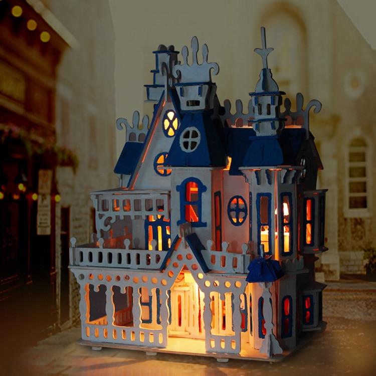 hot sunshine alice dream villa castle light diy wooden miniatura doll house furniture handmade 3d miniature
