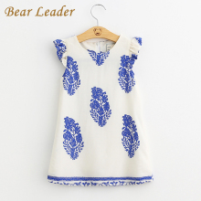 Bear Leader Girls Dresses 2017 Brand Girl Princess Dress Kids Clothes Geometric Pattern Design Kids Dress for Girls Clothes 3-8Y