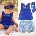 Комплект одежды младенца девочка футболка повязка на голову брюки 3 шт. костюмы новорожденной девочки одежда установить 0 - 24 м