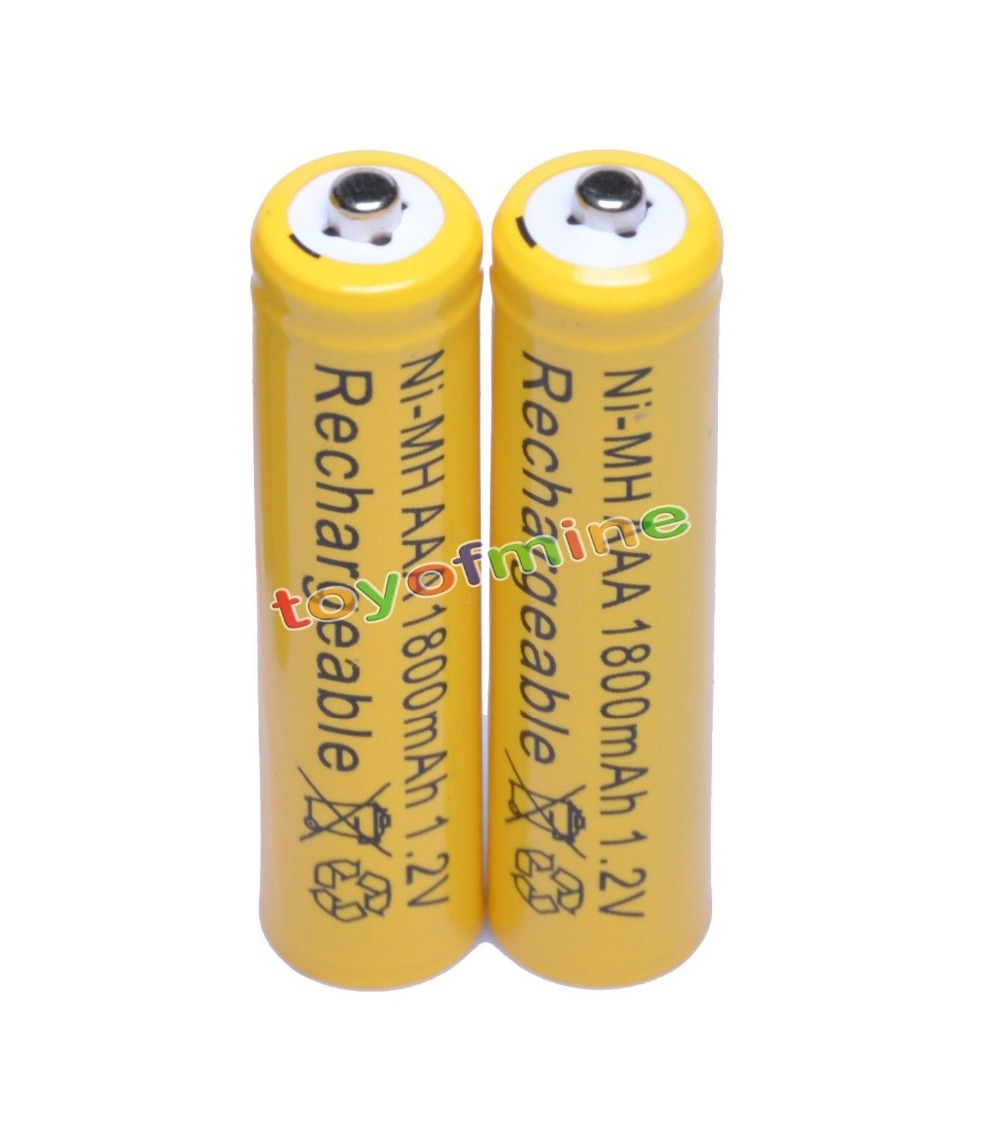 2x <font><b>AAA</b></font> 1800mAh 3A <font><b>1</b></font>.<font><b>2</b></font> <font><b>V</b></font> <font><b>Ni</b></font>-<font><b>MH</b></font> Yellow Rechargeable Battery Cell for MP3 RC Toys image