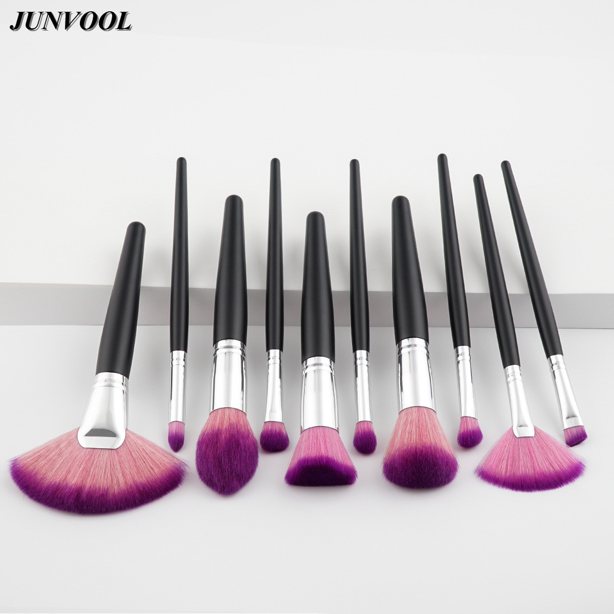 Black Silver Fan Makeup Brush 10pcs Professional Make Up Brushes Set Purple Blending Powder Foundation Eyebrow Eye Contour Brush 10pcs tooth brush shape oval makeup brush set multipurpose makeup brushes professional foundation powder brush kits make up tool