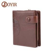 JOYIR New Genuine Leather mens wallet Retro Double fold Plus Anti-magnetic Standard Mens Wallet Casual