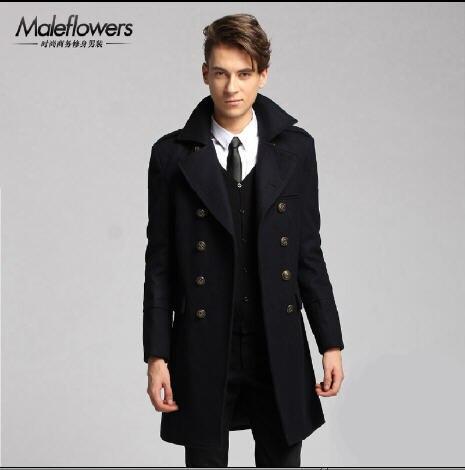 Winter New 2016 Double Breasted Wool Trench Coat Men'S Long Slim Fit Woolen Jacket Brand Lapel Cotton Padded Windbreaker A460