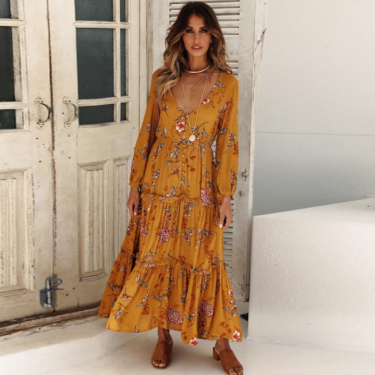 Jastie Boho chic Floral Print Midi Dress Women V Neck Long Sleeve Autumn Dresses Button Front Elastic Waist Casual Beach Dress