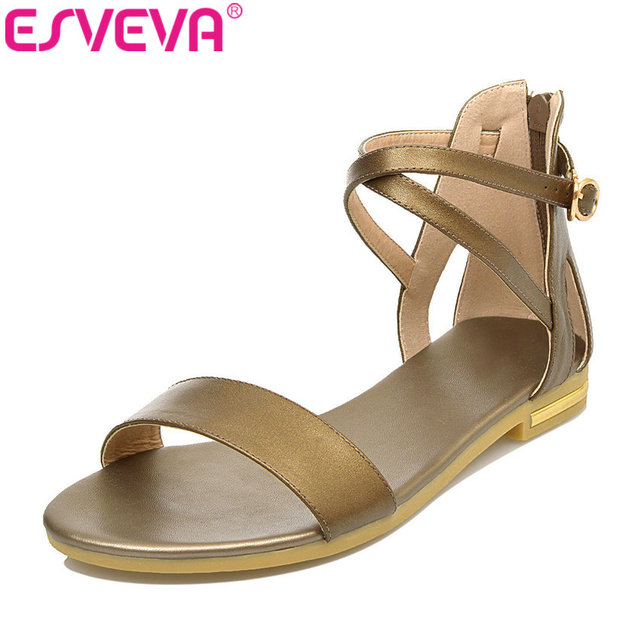 1629bfba3 ESVEVA 2018 Zipper Genuine Leather Women s Sandals Beach Low Heel Shoes  Summer Sandals Peep Toe Wedding Shoes Large Size 34-43