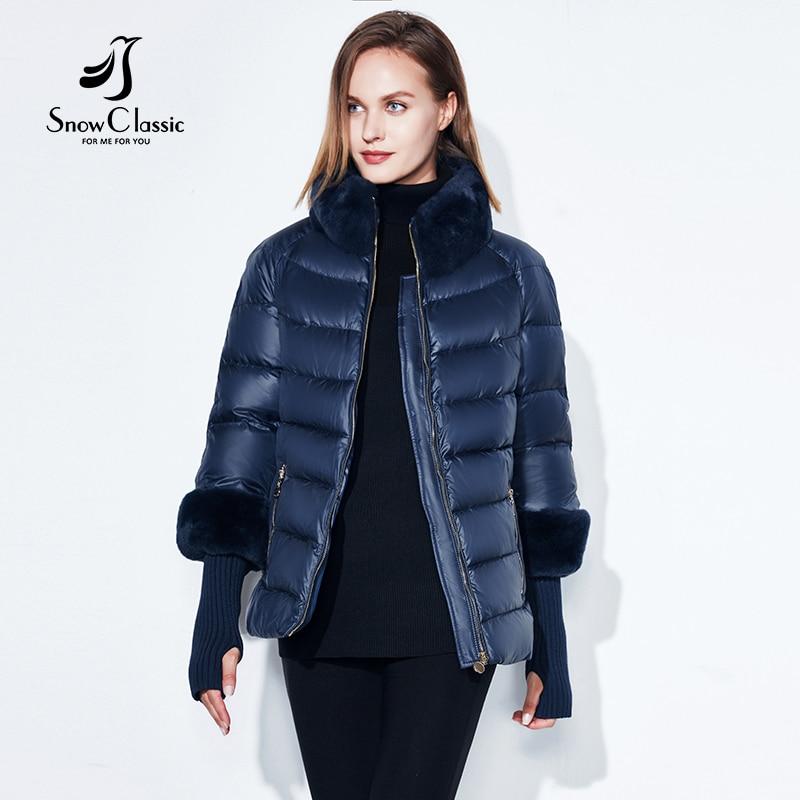 2018 Abrigo de mujer Cálido Chaqueta de invierno Cuello / manga de piel de conejo real Cazadora extraíble más gorra Chaqueta SnowClassic