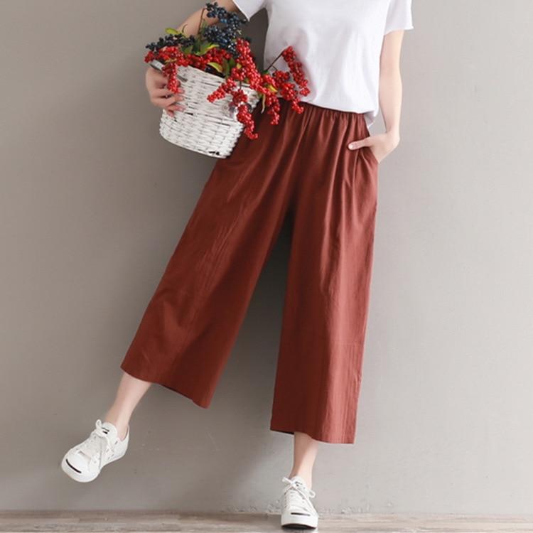 Japanese Style 3 Colors Women Elastic Waist Trousers 2018 Cotton Linen   Pants   Loose Casual Solid Color Ankle-Length   Wide     Leg     Pant