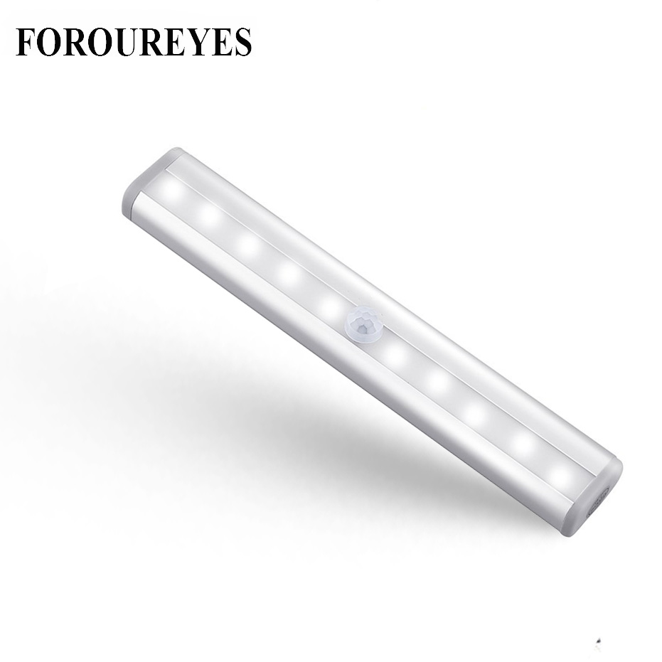 LED Under Cabinet Light PIR Motion Sensor Lamp 10 LEDs lighting for Wardrobe Cupboard Closet Kitchen night light