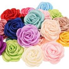 200 sztuk Curling kwiaty 6 cm kwiat włosów akcesoria DIY akcesoria do włosów Boutique Headwrap jednorożec akcesoria nie łuki spinka do włosów