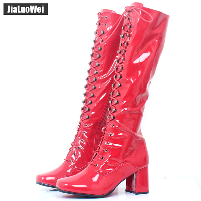 Hot sales women fashion Sexy Zip boots Knee-High Square Toe PU Leather 60 s  70 s GO-GO boots Spring Autumn shoes for unisex bb07027dbedc