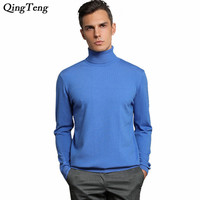 Winter Soft Warm Cashmere Sweater Men Turtleneck Mens Sweaters Slim Fit Pullover Men Classic Wool Knitwear Pull Homme