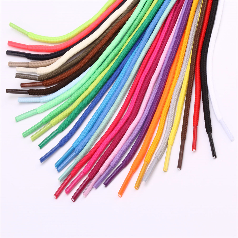 1 Pair 50cm 80cm 100cm Round Waxed Coloured Shoelaces Polyester Solid Shoes Strings Boot Sport Shoe Laces Cord