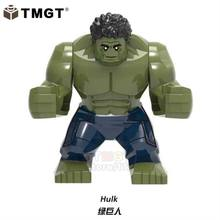 Single Sale Big Size Super Heroes Hulk Green Lantern Thanos Building Blocks Gifts Toys For Children Compatible With Legoings(China)